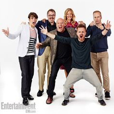 RJ Mitte, producer Vince Gilligan, Dean Norris, Anna Gunn, Aaron Paul, Bob Odenkirk, Breaking Bad