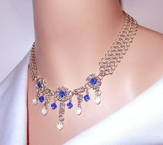 Chainmaille necklace with Swarovski elements by NezDesigns on Etsy, $55.00