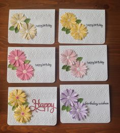 Cards by D Marshall using Stampin' Up's Daisy Delight stamp and punch and a Cricut Embossing folder