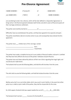 Pre Divorce Agreement   Download This Pre Divorce Agreement Template If You  Are Considering