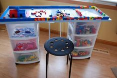 How To Build A Lego Table! Craft a Lego table to make building even more fun. Here is a great tutorial on how to make a Lego table! After so many Lego Sets we're going to need this! Table Lego Diy, Lego Table With Storage, Lego Desk, Lego Room, Storage For Legos, Craft Tables, Kids Crafts, Kids Diy, Baby Crafts