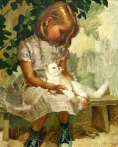A Young Girl With Her CatKaroly (Charles) Roka – Hungarian-born Norwegian) - cat art She And Her Cat, Illustration Art, Illustrations, Animals For Kids, Beautiful Paintings, Crazy Cats, Love Art, Cat Art, Art For Kids