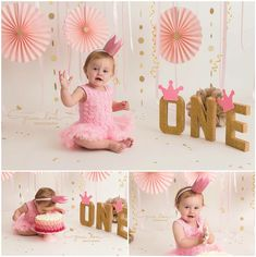 Pink and gold cake smash - princess. Pink and gold cake smash - princess. Baby Cake Smash, 1st Birthday Cake Smash, Baby Girl 1st Birthday, Smash Cakes, Cake Smash Photography, Birthday Photography, Bebe 1 An, 1st Birthday Photoshoot, One Year Birthday