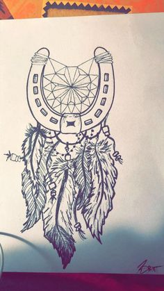 Horse shoe dream catcher. Tattoo idea for a friend. Might draw another on for her -Brittney Mulhair: