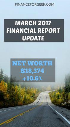 Financial Report Update – March 2017 – Net Worth $18,374 (+10.6%)