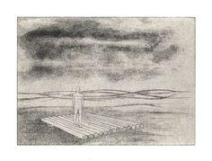 Helena Kalná, A Man on a raft, etching, aquatint