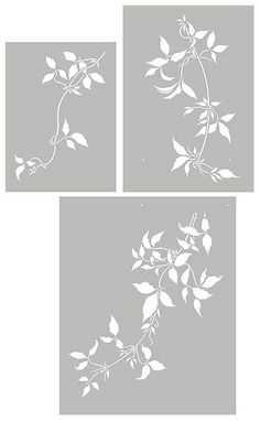 Oversize Trailing Leaves Stencil Clematis Vines                                                                                                                                                      More
