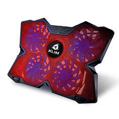 KLIM Wind Laptop-PC K�hler - Leistungsstark wie kein anderer - Schneller K�hlvorgang - 4 L�fter Bel�fteter Notebookst�nder Gamer Gaming St�tzhalterung (Rot)