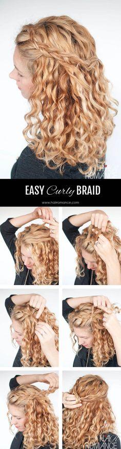 Hair Romance - Easy half up braid tutorial in curly hair 4 #easyhairstylescurly
