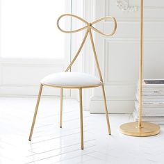 PB Teen The Emily & Meritt Bow Chair, Gold/Ivory ($215) ❤ liked on Polyvore featuring home, furniture, chairs, bone furniture, beige chair, pbteen, eggshell chair and antique white furniture