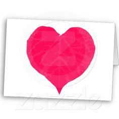 Pink Valentine Heart Leaf Greeting Card