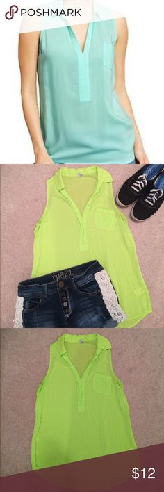 Old Navy, collared, V-neck blouse with pocket Old Navy, lime green, V-neck, sleeveless blouse with front pocket. Pairs well with jeans for a casual outfit or a sweater to dress it up for work. Worn once and in like new condition! Old Navy Tops Blouses