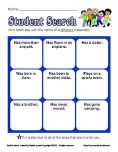 Here are is a fun get to know you game to use with your class at the start of the year. You can play in two ways: either give your students time to...