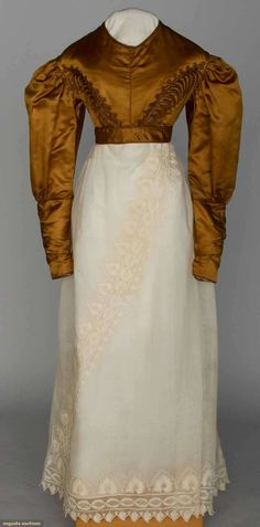 Augusta Auctions: Young lady's silk spencer Rust satin, self fabric trim & cording- 1820's