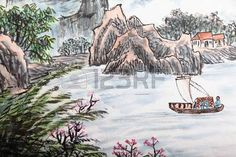 Image result for traditional chinese boats drawing painting Chinese Boat, Boat Drawing, Traditional Chinese, Chinese Painting, Boats, Drawings, Image, Art, Idea Paint