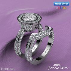 4ct Round Halo Pave Diamond Bridal Set Engagement Ring GIA F VVS2 14k White Gold.