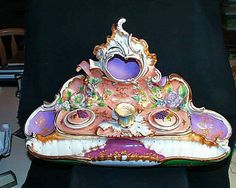 Majestic Huge Victorian Antique Porcelain Inkwell Attributed To French Majolica