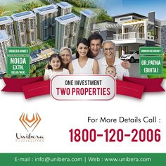 HURRY!  Book Your Dream Home - One Investment Two Properties. For More Details Call Us Now: 180-120-2006 ..................... #Investment #Properties #DreamHome #LuxuryFlats #2bhkFlats #3bhkFlats #UniberaHomes #NoidaExtensionFlats #GreaterNoidaWest