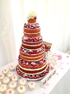 angle food cake, whipped cream, fruit and little bit of powder sugar love. Love this kind of naked cakes