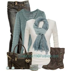 Loving the soft, blue hues in this outfit. This version has shorter boots.