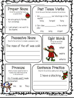 Christmas Math and Literacy---December Daily Practice for Second Grade--Language Arts-FREE Sample pages--click on preview for your sample  ELA pages.  This is a great grammar review for your students.  I use this for morning work and homework.
