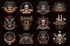Pirate logos set with grunge example image 1