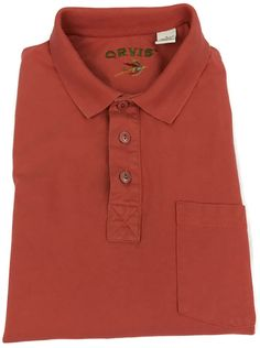 Orvis Polo Shirt Large Mens Size Short Sleeve Golf Cotton Coral Pink Size Sz L #Orvis #PoloRugby