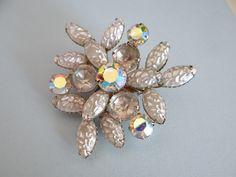 Beautiful Shiny Stippled Silver Tone Aurora Borealis Brooch by SecondWindShop on Etsy