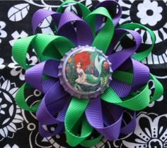 Princess Ariel INSPIRED Bottle Cap Hair Bow and Headband! I absolutely love this!!!! @Jenn L Gibson