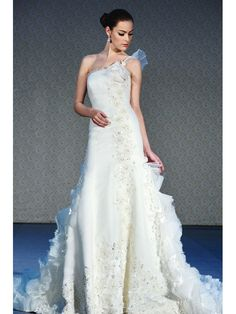 Lace Tulle and Organza One Shoulder Stunning Crystal Embroidery Embellished Applique Chapel Train Wedding Dress