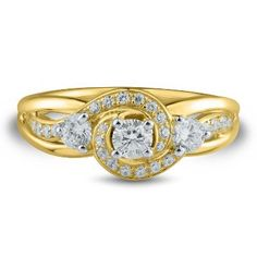 5/8 ct. tw. Three-Stone Diamond Ring in 14K Yellow Gold available at #HelzbergDiamonds