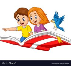 Boy and girl flying on a book Royalty Free Vector Image , Bus Cartoon, Cartoon Monkey, Baby Dinosaurs, Baby Animals, Cartoon Rooster, Kindergarten Interior, Blue Flower Wallpaper, Boarder Designs, Dog Coloring Page