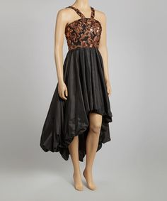 Take a look at this Black & Brown Embellished Hi-Low Dress - Women by Samuel Dong on #zulily today! $70 !!
