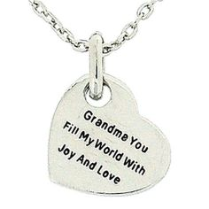 Toc Double Sided Grandma Sentiment Heart Pendant on a 16 Inch Chain The Olivia Collection. $23.95. Save 39% Off!