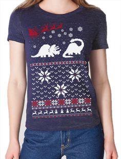 Dinosaur Christmas Sweater Tee