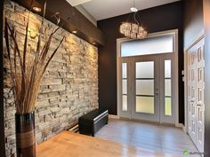 Bungalow construction 2012 located in a new super quiet area and close to everything. Modern Entrance Door, Modern Entryway, Entryway Decor, Bungalow, Interior Cladding, Entry Foyer, Facade Design, Home Deco, Future House