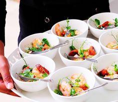 Bowl food - confit king prawns w/ chorizo, broad beans and a saffron & white balsamic dressing Balsamic Dressing, Ginger Jars, Canapes, Prawn, Chorizo, Fine Dining, Fresh Rolls, Street Food, Catering
