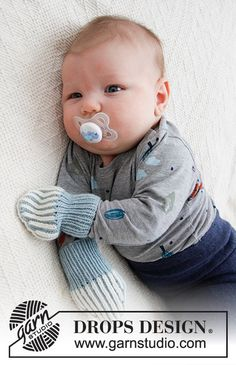 Free knitting patterns and crochet patterns by DROPS Design Baby Knitting Patterns, Baby Sweater Knitting Pattern, Christmas Knitting Patterns, Knit Mittens, Free Knitting, Crochet Patterns, Drops Design, Drops Baby, Baby Tights