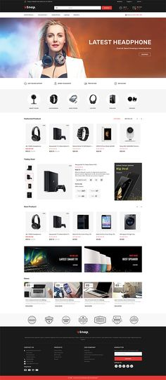 eSnap – The Electronics Store Template, … - Blackfriday Design Website Layout, Web Layout, Layout Design, Banner Design, Website Design Inspiration, Computer Theme, Ecommerce Website Design, Free Ecommerce, Photoshop