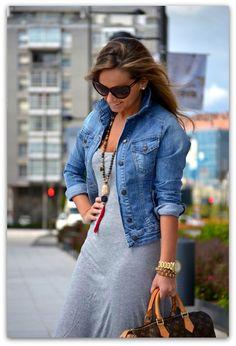 Jean jacket and gray maxi dress