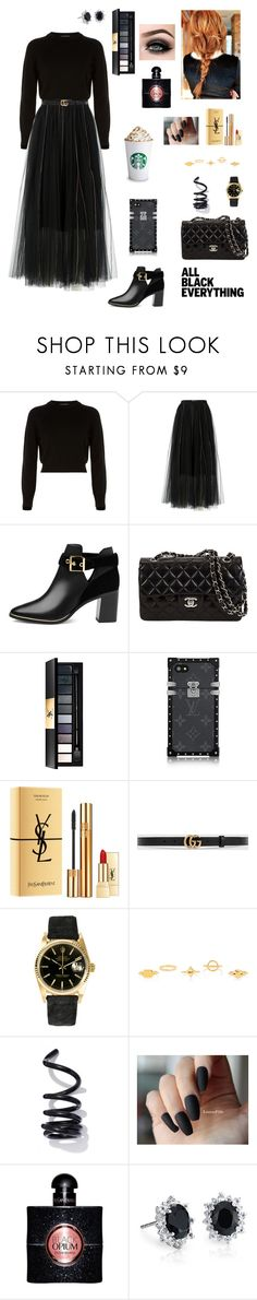 """""""All black"""" by tamara-wolf ❤ liked on Polyvore featuring Helmut Lang, Dorothee Schumacher, Ted Baker, Yves Saint Laurent, Gucci, Rolex, Chloé, Proenza Schouler, ASAP and Blue Nile"""