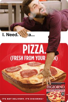 Look at that piping hot DiGiorno Crispy Pan Pizza baked fresh from your oven!,Funny, Funny Categories Fuunyy Look at that piping hot DiGiorno Crispy Pan Pizza baked fresh from your oven! You'll never want to wait for delivery again a. Ads Creative, Creative Video, Creative Posters, Food Graphic Design, Ad Design, Exhibit Design, Booth Design, Clever Advertising, Advertising Design
