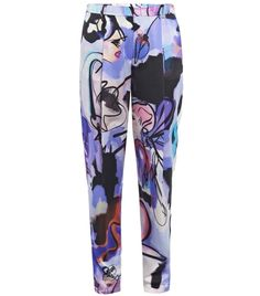 Italian made signature print silk high waisted pleated carrot leg top hook/zip slanted side pocket belt loop loose fit trousers. Material: 100% silk, dry clean.#Matchesfashion