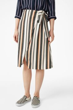 Model side image of Monki wrap front skirt in yellow Monki, Midi Skirt, Yellow, Skirts, How To Wear, Clothes, Image, Style, Fashion