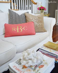 Personalized pillow made with the Silhouette & heat transfer material | Eclectic and colorful living room  | 11 Magnolia Lane