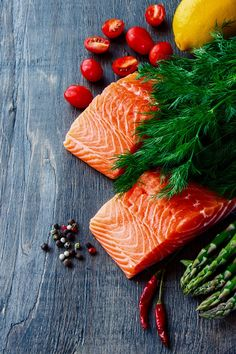 Salmon fillet with asparagus by yuliyagontar on @creativemarket