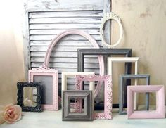 Pink and Gray Frame Set Nursery Picture Frames Picture