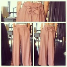 pink bow loose trousers