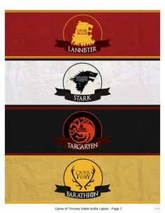 Games of Thrones - Water Bottle Labels by KTL