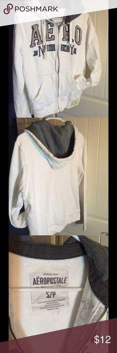 Aeropostale Zip up Hoodie Perfect white zip up hoodie, no stains, rips etc. Worn maybe twice, gray hood and lettering. Aeropostale Shirts & Tops Sweatshirts & Hoodies